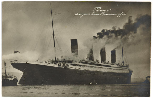 [TITANIC] A postcard for the German market  1912 3-1/2 x 5-1/2 in. (8.9 x 14 cm.) 1