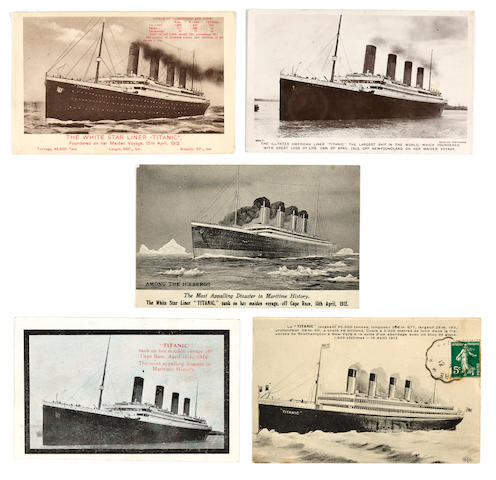 [TITANIC] A group of five post-sinking postcards  circa 1912 3-1/2 x 5-1/2 in. (8.9 x 14 cm.) each. 5