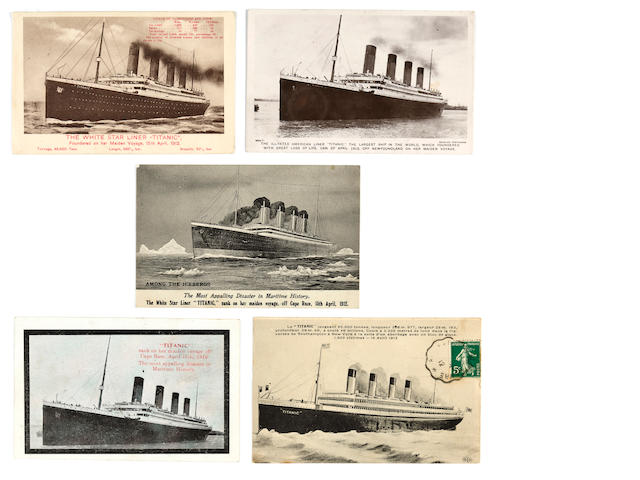 5 various postcards depicting R.M.S. Titanic