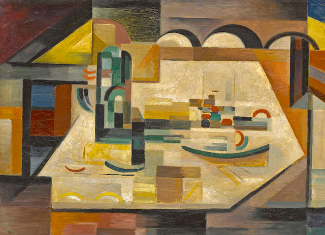 Werner Drewes (American, 1899-1985) East River, 1946 25 x 35in