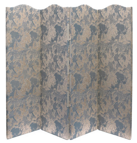 A French Art Deco fabric covered four panel floor screen  the fabric designed by Alberto-Fabio Lorenzi for Bianchini-Férier, circa 1920
