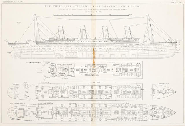 Two framed Titanic/Olympic deck plans