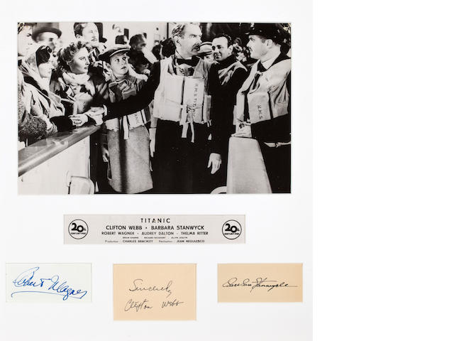 "French lobby card with autographs for the 1953 ""Titanic"" film"