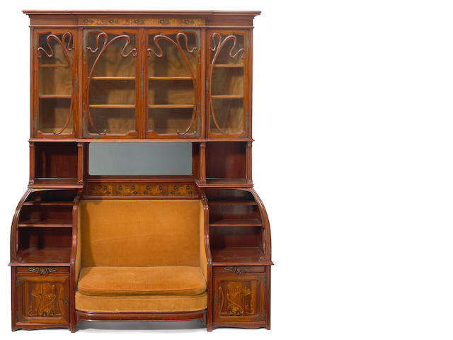A Louis Majorelle marquetry cabinet/settee