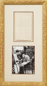 """RENOIR, PIERRE-AUGUSTE.  1841-1919. Autograph Letter Signed (""""Renoir""""), 1 p, 8vo, """"Villa Printemps au Cannet,"""" n.d., likely to M. Paul Gallimard,"""