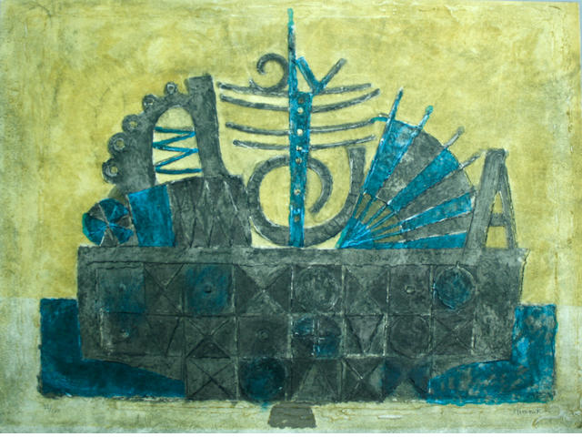 Enrique Climent (Spanish, 1897-1980); Untitled (Ship at port);
