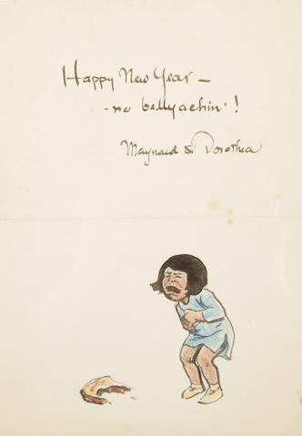 DIXON, MAYNARD.  1875-1946. Original ink and crayon on paper, 7 by 5 inches, of a child crying and holding her stomach,