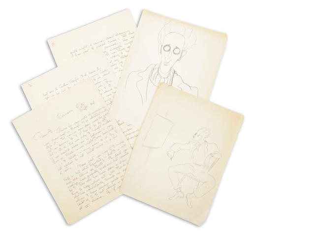 Maynard Dixon (2) Self-Portrait drawings and a letter