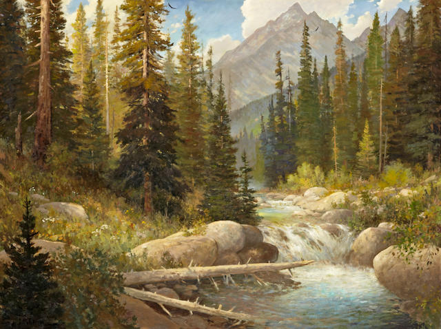 John Barger (American, born 1953) Stream rushing through forest landscape with mountains in the distance 36 x 48in