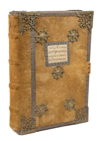c. 16th c. Spanish missal, 9711, in boards with iron accents.
