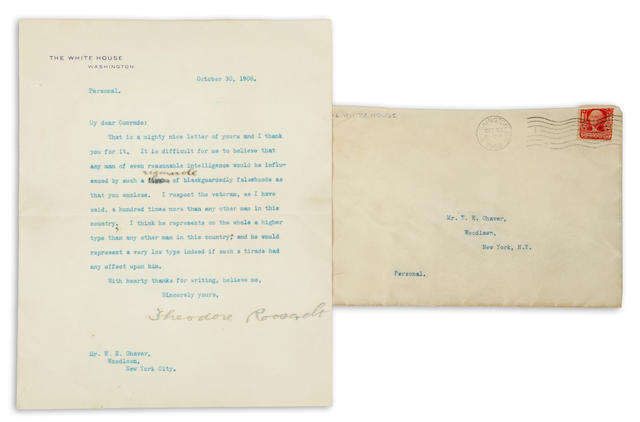 Roosevelt, Theodore. TLS, 1908. With envelope.