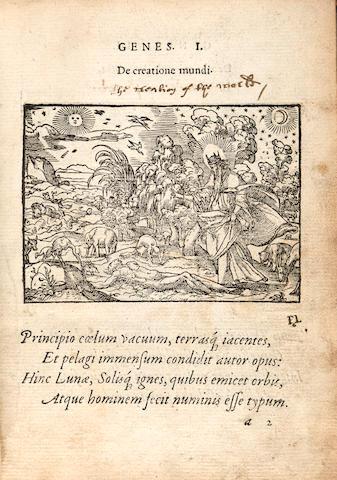 Paradin. Historiarum memorabilium ex Genesi descriptio.... Lyons: Jean de Tournes, 1558. 2 parts in 1 vol. 8vo,