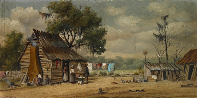 William Aiken Walker (American, 1838-1921) Southern sharecropper cabin 6 x 12 1/4in