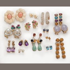 A collection of sixteen pairs of hardstone, gem-set, cultured pearl, diamond, 14k and 10k gold earrings