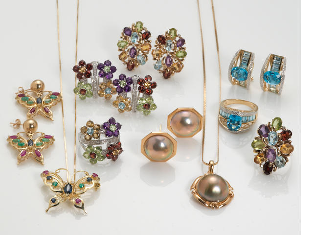 A miscellaneous collection of gem-set, diamond, mabé cultured pearl, 14k yellow and 18k white gold jewelry sets