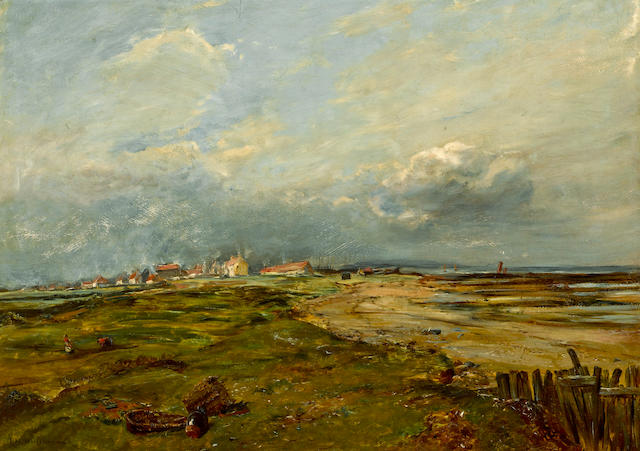 Dutch School, 19th Century A Dutch landscape under a threatening sky 23 x 32 1/4in