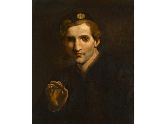 Circle of Pietro Paolini, called il Lucchese (Lucca 1603-1681) A young man holding a butterfly 23 1/4 x 19 1/4in (59 x 48.9cm)