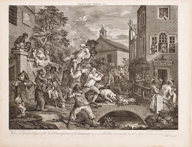 HOGARTH, WILLIAM. 1697-1764. The Election series, comprising: An Election Entertainment; Canvassing for Votes; The Polling; Chairing the Members. London: 1755-1758 [or later].