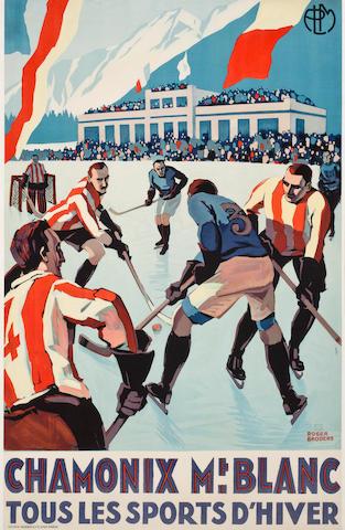 BRODERS, ROGER. 1883-1953. Chamonix Mt. Blanc: tous les sports d'hiver. Paris: Lucien Serre, [1930].