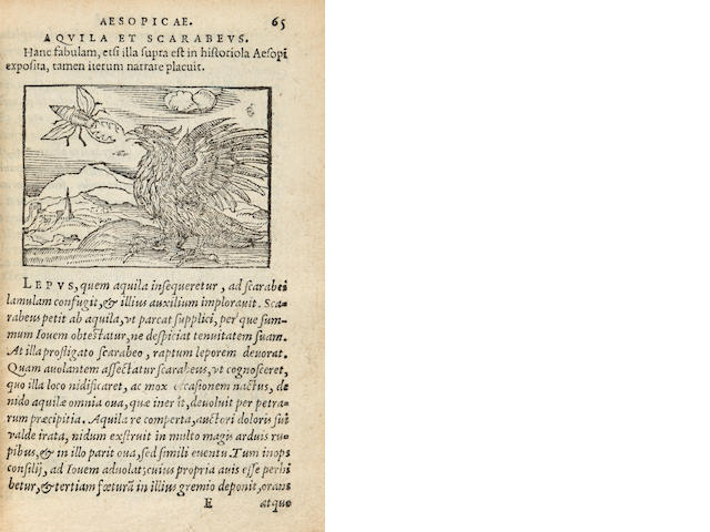 AESOP.  Aesopi Phrygis....  Antwerp: Plantin Press, 1565.  Contemporary calf.