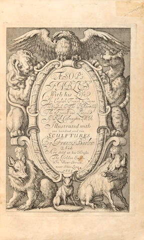 BARLOW, FRANCIS, illustrator. Æsop's Fables with his Life: In English, French & Latin. London: Printed by William Godbid for Francis Barlow; sold by Anne Seile and Edward Powell, 1666.