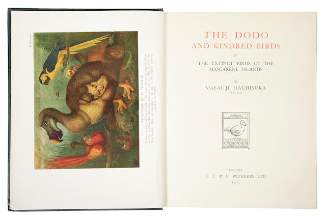 HACHISUKA, MASAUJI. 1903-1953. The Dodo and Kindred Birds, or The Extinct Birds of the Mascarene Islands. London: H.F. & G. Witherby, 1953.