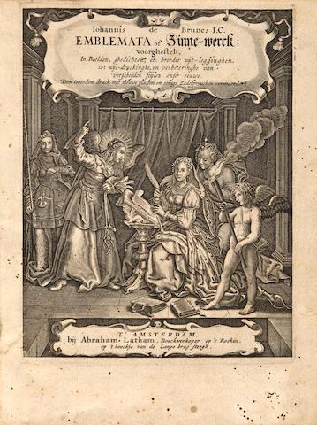 BRUNE, JOHANNES DE. 1589-1658. Emblemata of Zinne-werck; voorghestelt in Beelden.... Amsterdam: Abraham Latham, [c.1688].