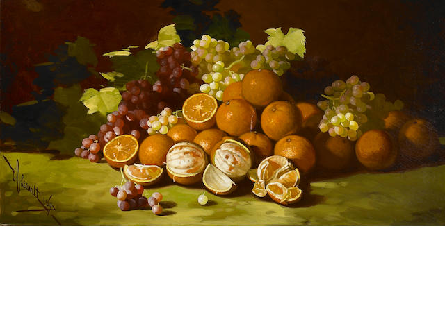 Edward C. Leavitt, Still life with grapes and oranges