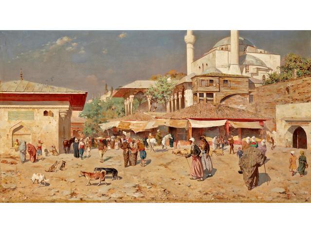 Odoardo Toscani (Italian, 1859-1914) A busy street outside of a mosque 41 x 73in (104.2 x 185.4cm)