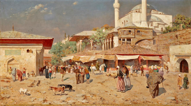 Odoardo Toscani (Italian, 1859-1914) A busy street outside of a mosque 41 x 73in (104.2 x 185.4cm)