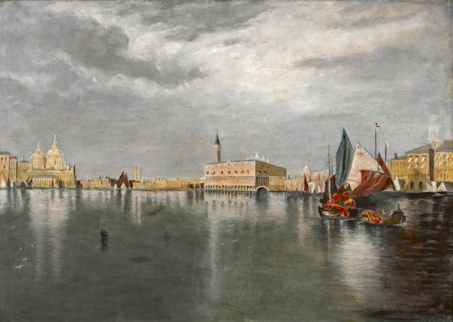 Italian School, late 19th/early 20th Century A view of the Doge's Palace from the Bacino di San Marco, Venice 36 1/2 x 50 1/2in