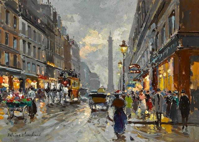 Antoine Blanchard (French, 1910-1988) Rue de la Paix, Place Vendôme  13 x 18 1/4in (33 x 46.3cm)