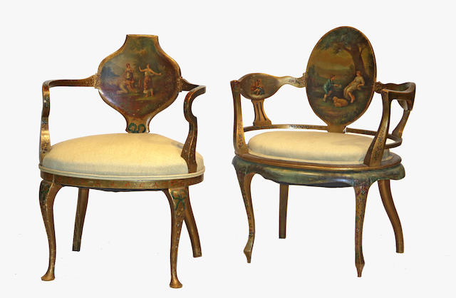A pair of Venetian Rococo style painted chairs