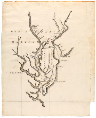 FRANKLIN, BENJAMIN, PRINTER. ['Lord Baltimore's Own Plan', a map of the proposed boundaries between Maryland and Pennsylvania. Philadelphia: Benjamin Franklin, 1733.]<BR />