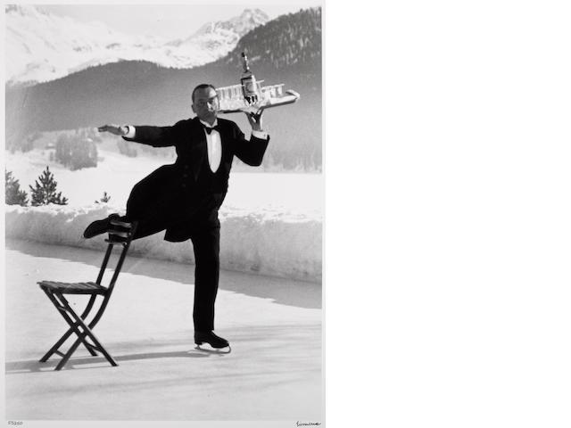 Alfred Eisenstaedt (American, 1898-1995); René Breguet, Ice Skating Waiter, St. Moritz;