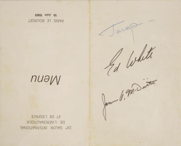 "WHITE AND MCDIVITT MEET GAGARIN. Menu for a luncheon held during the ""26' Salon International de l'Aéronautique et de l'Espace"" at Le Bourget airfield, Paris, June 19, 1965,"