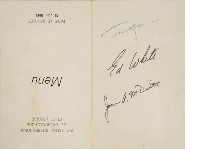 Menu signed by Gagarin, White and McDivitt