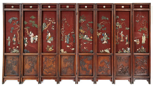 A fine Chinese eight-panel cinnabar lacquer and hardstone overlay screen of the Eight Immortals 19th century