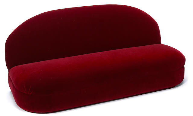 A group of velvet upholstered seat furniture