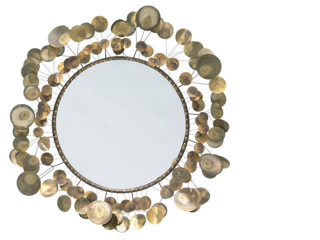 A Curtis Jeré patinated metal Raindrops mirror circa 1968