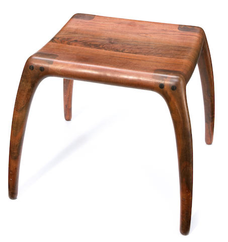 A Richard Pohlers walnut stool