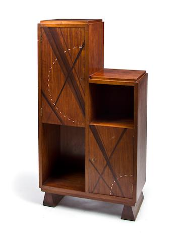 A Louis Majorelle rosewood and abalone inlaid mahogany bookcase                  1920's