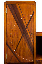 A Louis Majorelle rosewood and abalone inlaid mahogany bookcase 1920s