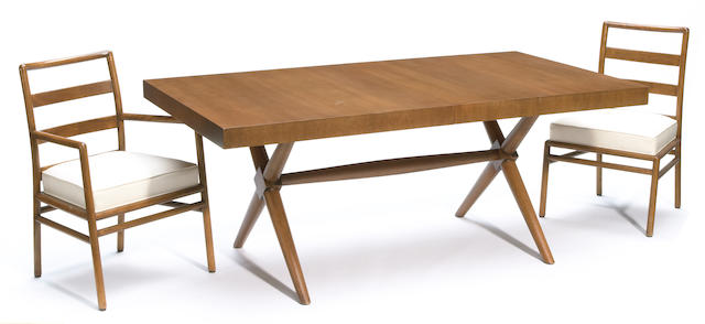 A T.H. Robsjohn-Gibbings for Widdicomb walnut dining table and eight chairs mid 20th century
