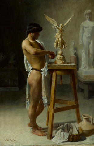 Christian Meyer Ross (Norwegian, 1843-1904) In the sculptor's studio 20 3/4 x 13 3/4in (52.7 x 34.9cm)
