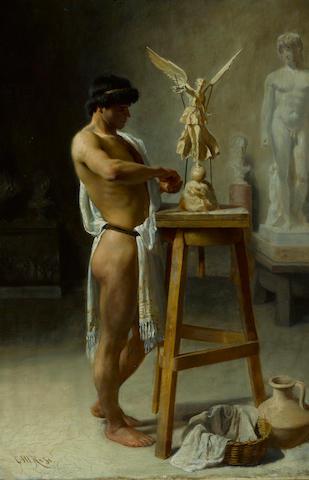 Christian Meyer Ross (Norwegian, 1843-1904) In the sculptor's studio 20 3/4 x 13 3/4in (52.7 x 34.9cm)