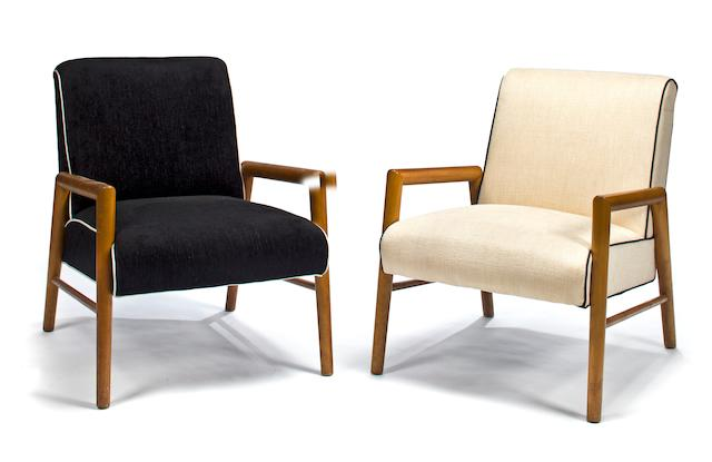 Two T.H.Robsjohn-Gibbings for Widdecomb walnut lounge chairs 1950's