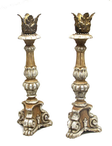 An assembled group of Baroque style lamps, candlesticks and standards late 20th century
