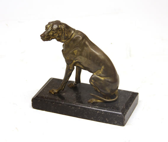 A French gilt bronze hound mid 19th century