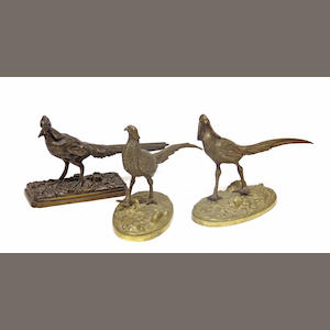Three patinated bronze pheasants late 19th/20th century